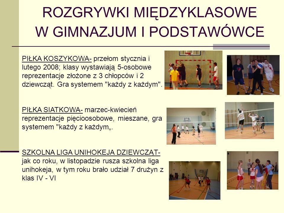 ROZGRYWKI MIĘDZYKLASOWE W GIMNAZJUM I PODSTAWÓWCE PIŁKA KOSZYKOWA- przełom stycznia i lutego 2008; klasy wystawiają 5-osobowe reprezentacje złożone z