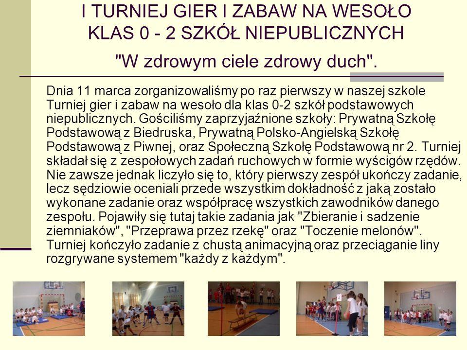 Międzyszkolne Wiosenne Zawody Pływackie szkół podstawowych i gimnazjalnych 18.03.2008 odbyły się zawody pływackie szkół podstawowych, organizowane przy wsparciu sponsora przez naszą szkołę.