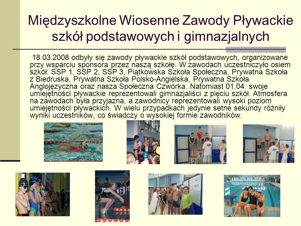 Międzyszkolne Wiosenne Zawody Pływackie szkół podstawowych i gimnazjalnych 18.03.2008 odbyły się zawody pływackie szkół podstawowych, organizowane prz