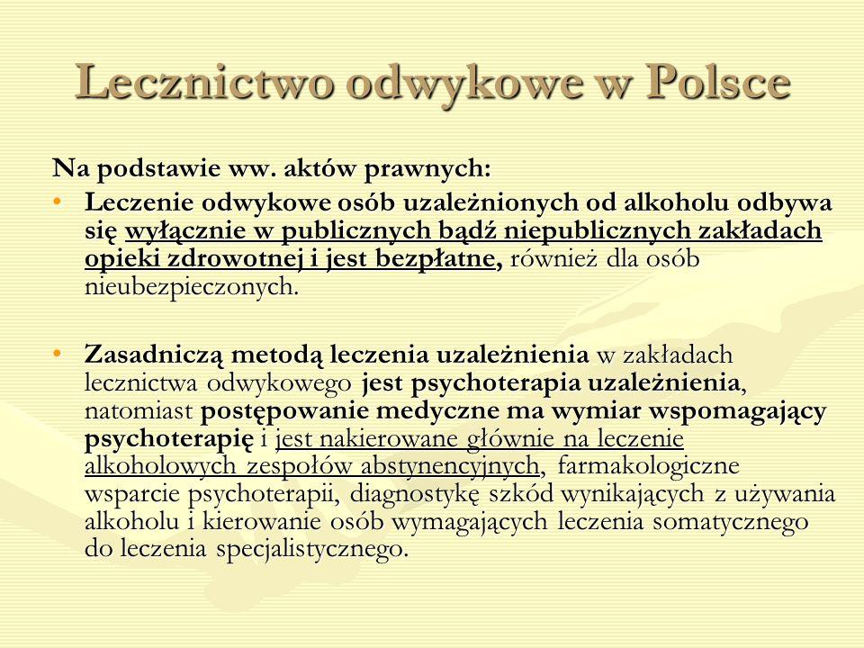 Lecznictwo odwykowe w Polsce Na podstawie ww. aktów prawnych: Leczenie odwykowe osób uzależnionych od alkoholu odbywa się wyłącznie w publicznych bądź