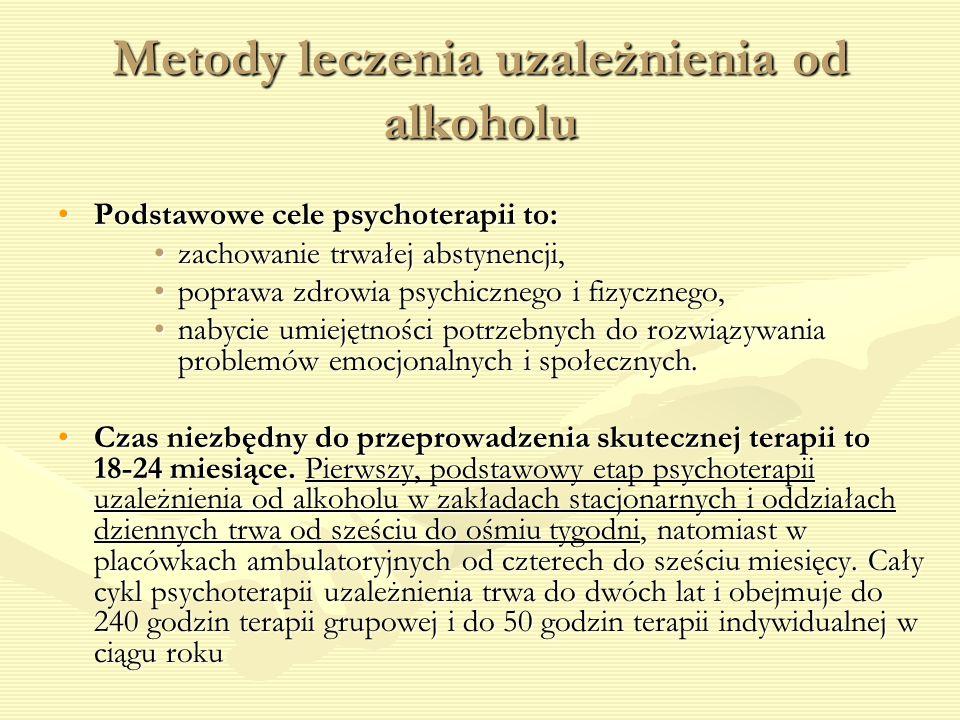 Metody leczenia uzależnienia od alkoholu Podstawowe cele psychoterapii to:Podstawowe cele psychoterapii to: zachowanie trwałej abstynencji,zachowanie