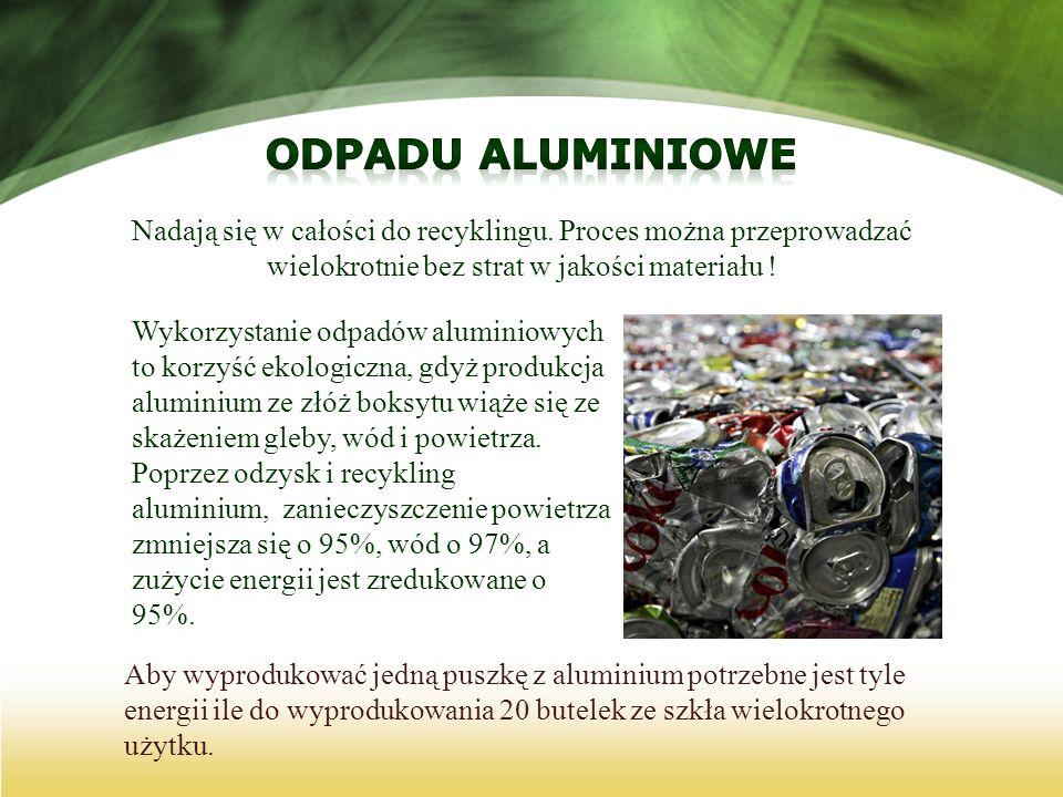 Nadają się w całości do recyklingu. Proces można przeprowadzać wielokrotnie bez strat w jakości materiału ! Wykorzystanie odpadów aluminiowych to korz