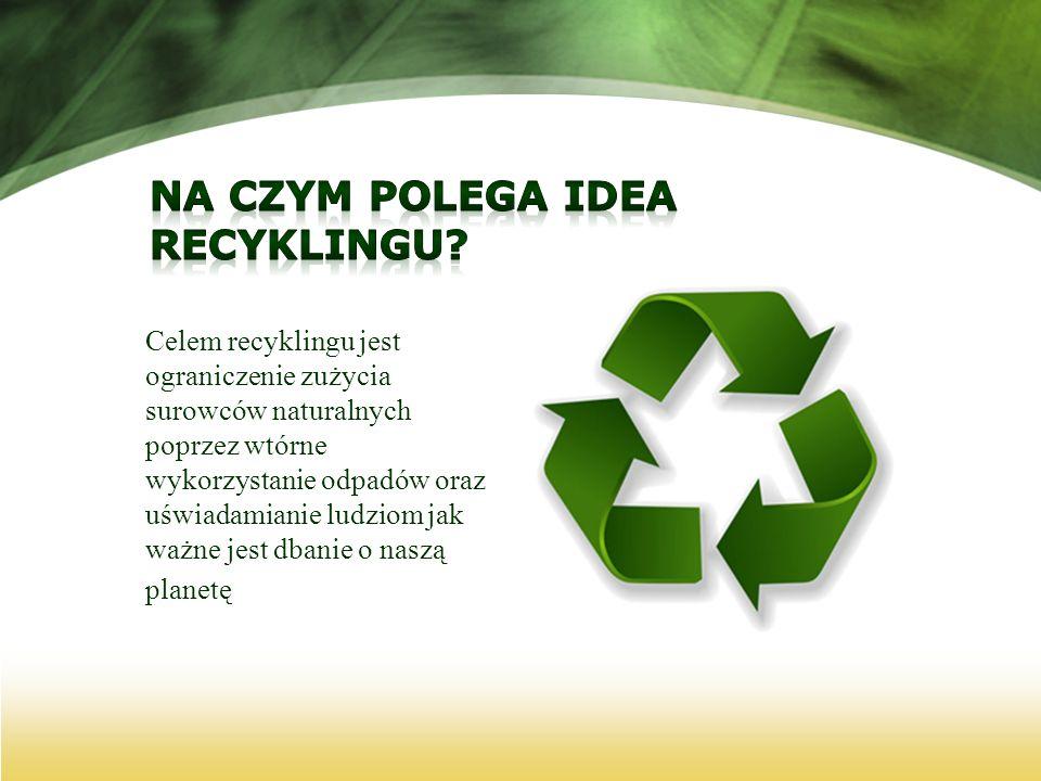 Celem recyklingu jest ograniczenie zużycia surowców naturalnych poprzez wtórne wykorzystanie odpadów oraz uświadamianie ludziom jak ważne jest dbanie