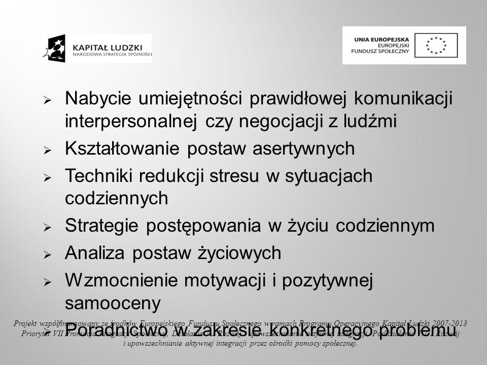 Nabycie umiejętności prawidłowej komunikacji interpersonalnej czy negocjacji z ludźmi Kształtowanie postaw asertywnych Techniki redukcji stresu w sytu