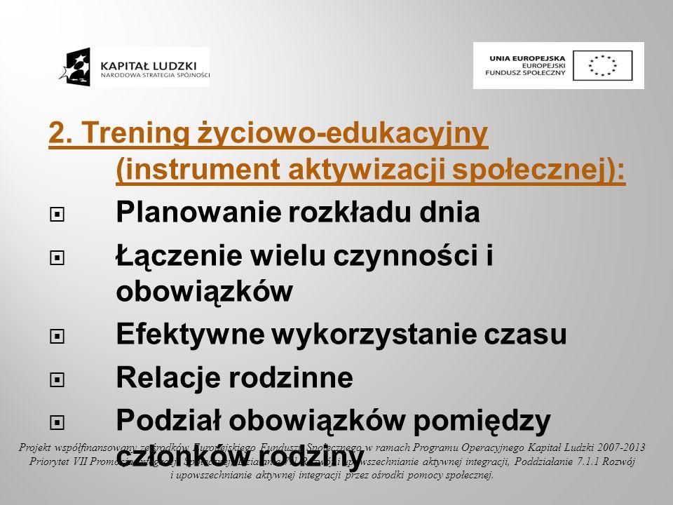 2. Trening życiowo-edukacyjny (instrument aktywizacji społecznej): Planowanie rozkładu dnia Łączenie wielu czynności i obowiązków Efektywne wykorzysta