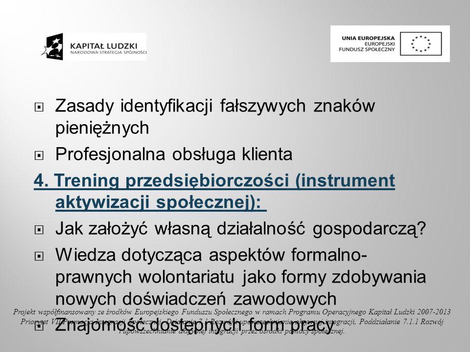Zasady identyfikacji fałszywych znaków pieniężnych Profesjonalna obsługa klienta 4. Trening przedsiębiorczości (instrument aktywizacji społecznej): Ja