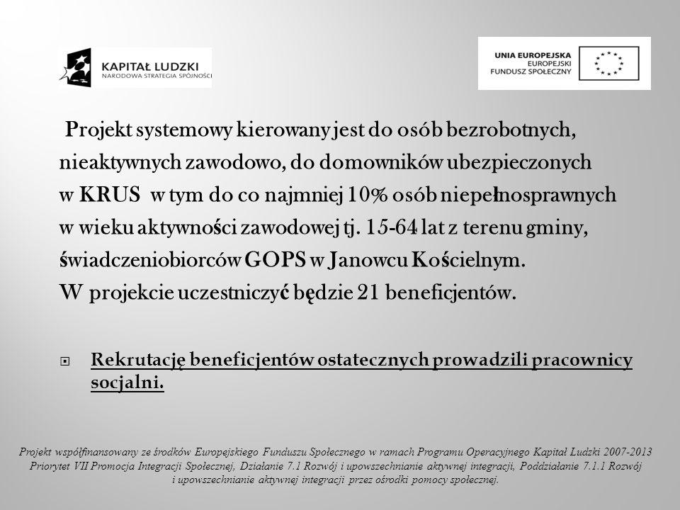 Projekt systemowy kierowany jest do osób bezrobotnych, nieaktywnych zawodowo, do domowników ubezpieczonych w KRUS w tym do co najmniej 10% osób niepe