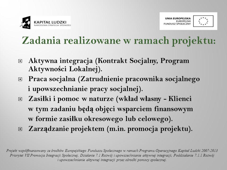 Zadania realizowane w ramach projektu: Aktywna integracja (Kontrakt Socjalny, Program Aktywno ś ci Lokalnej). Praca socjalna (Zatrudnienie pracownika