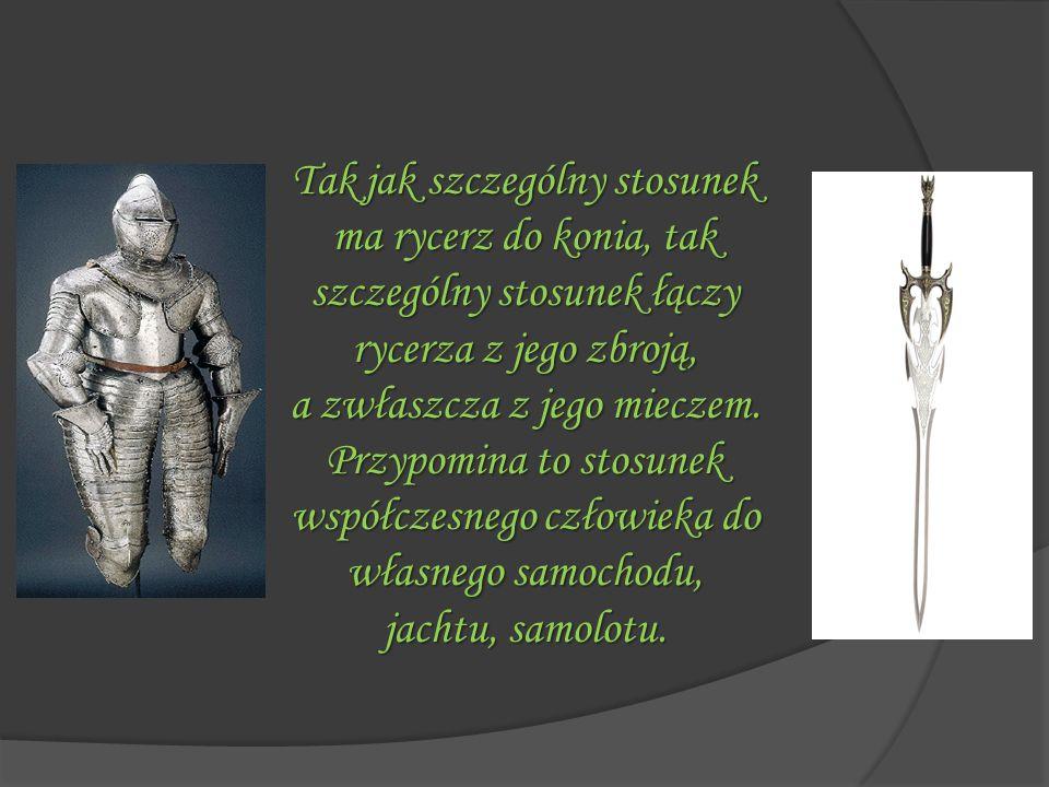 Tak jak szczególny stosunek ma rycerz do konia, tak szczególny stosunek łączy rycerza z jego zbroją, a zwłaszcza z jego mieczem. Przypomina to stosune