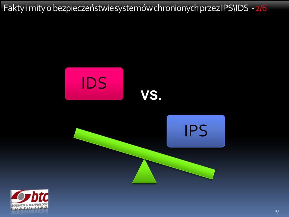 17 Fakty i mity o bezpieczeństwie systemów chronionych przez IPS\IDS - 2/6 VS.