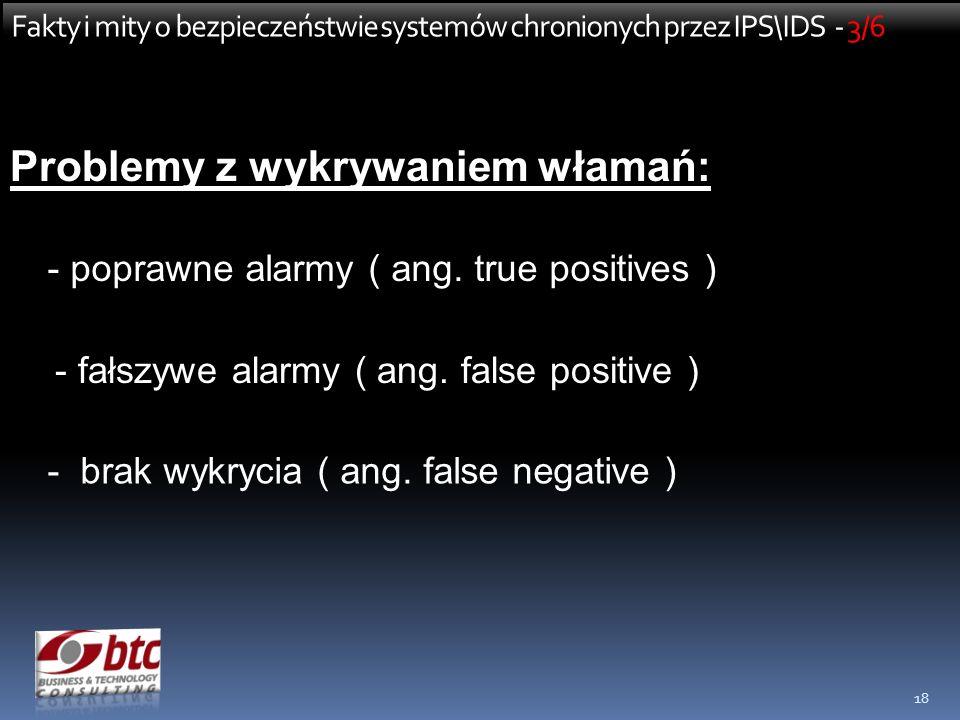 18 Fakty i mity o bezpieczeństwie systemów chronionych przez IPS\IDS - 3/6 Problemy z wykrywaniem włamań: - poprawne alarmy ( ang. true positives ) -