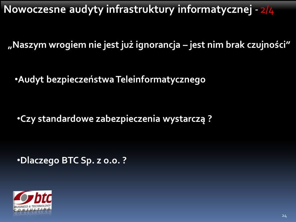 24 Naszym wrogiem nie jest już ignorancja – jest nim brak czujności Audyt bezpieczeństwa Teleinformatycznego Czy standardowe zabezpieczenia wystarczą .