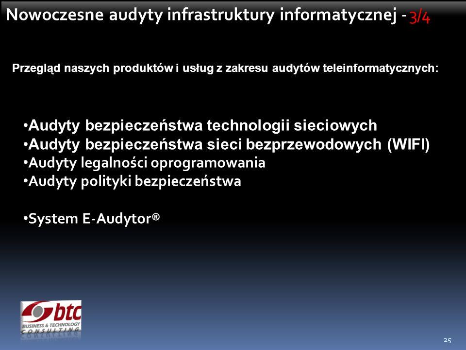 25 Przegląd naszych produktów i usług z zakresu audytów teleinformatycznych: Audyty bezpieczeństwa technologii sieciowych Audyty bezpieczeństwa sieci bezprzewodowych (WIFI) Audyty legalności oprogramowania Audyty polityki bezpieczeństwa System E-Audytor® Nowoczesne audyty infrastruktury informatycznej - 3/4
