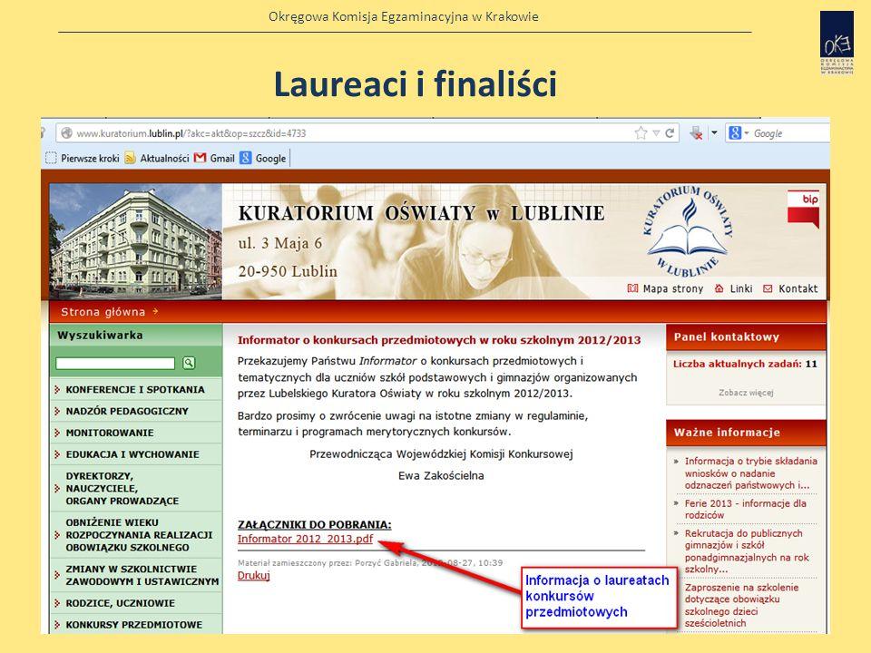 Okręgowa Komisja Egzaminacyjna w Krakowie Źródła informacji o laureatach konkursów przedmiotowych http://www.kuratorium.lublin.pl/?akc=akt&op=szcz&id=
