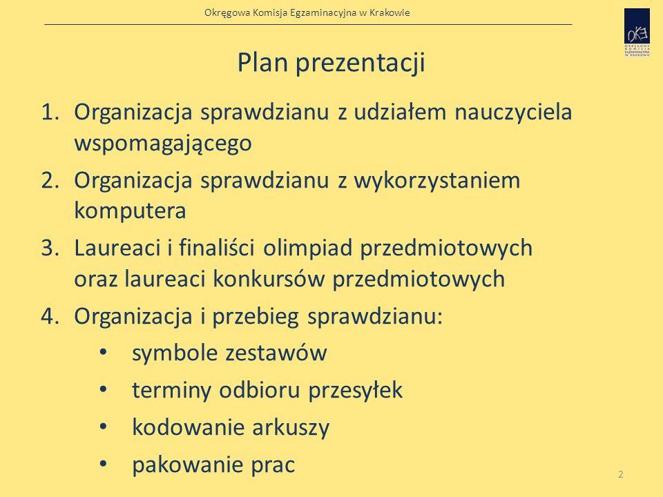 Okręgowa Komisja Egzaminacyjna w Krakowie Plan prezentacji 1.Organizacja sprawdzianu z udziałem nauczyciela wspomagającego 2.Organizacja sprawdzianu z