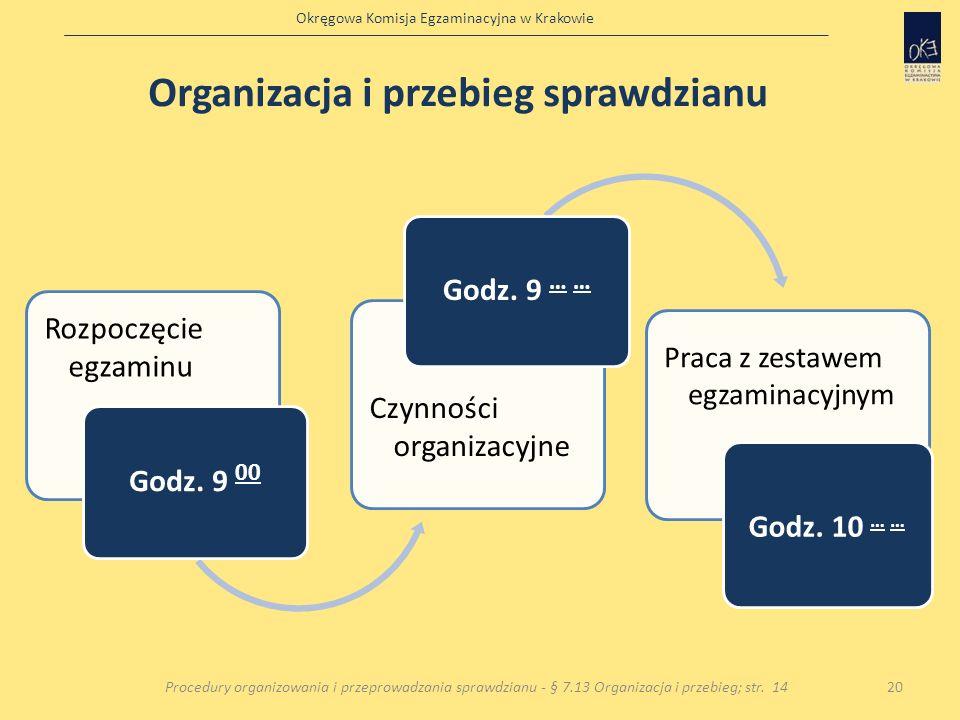 Okręgowa Komisja Egzaminacyjna w Krakowie 20Procedury organizowania i przeprowadzania sprawdzianu - § 7.13 Organizacja i przebieg; str. 14 Rozpoczęcie