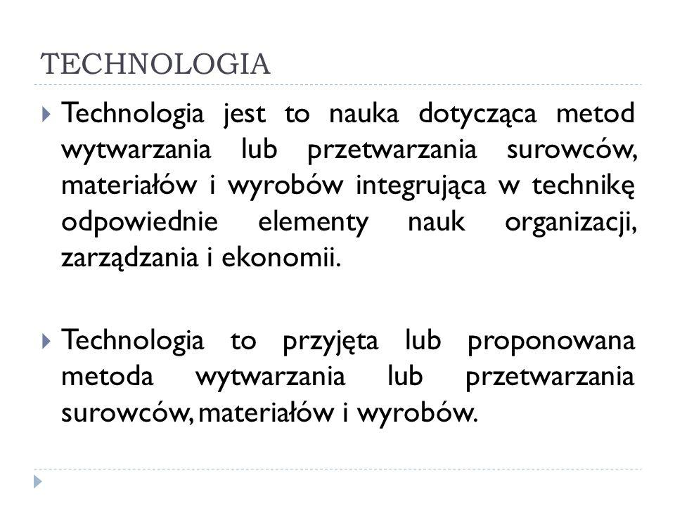 TECHNOLOGIA Technologia jest to nauka dotycząca metod wytwarzania lub przetwarzania surowców, materiałów i wyrobów integrująca w technikę odpowiednie