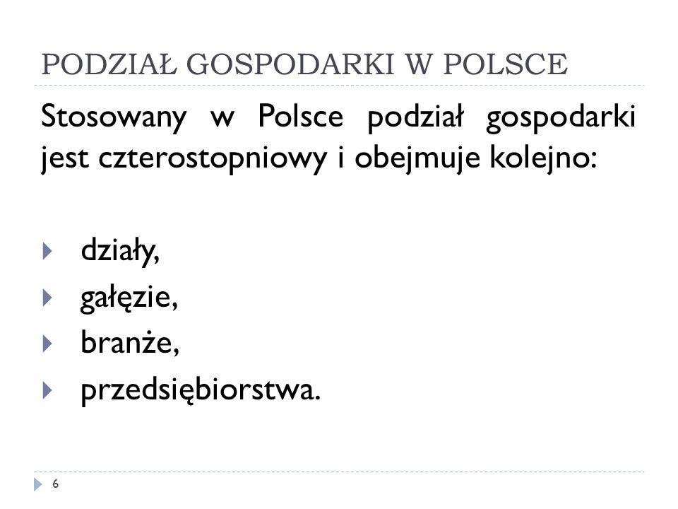 PODZIAŁ GOSPODARKI W POLSCE Stosowany w Polsce podział gospodarki jest czterostopniowy i obejmuje kolejno: działy, gałęzie, branże, przedsiębiorstwa.