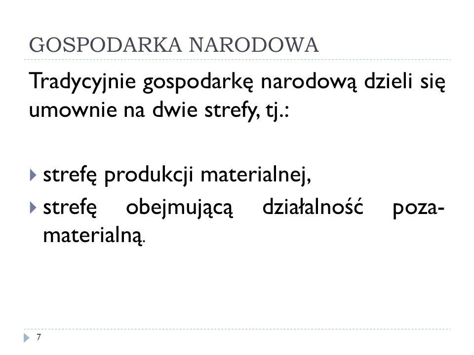 GOSPODARKA NARODOWA Tradycyjnie gospodarkę narodową dzieli się umownie na dwie strefy, tj.: strefę produkcji materialnej, strefę obejmującą działalnoś