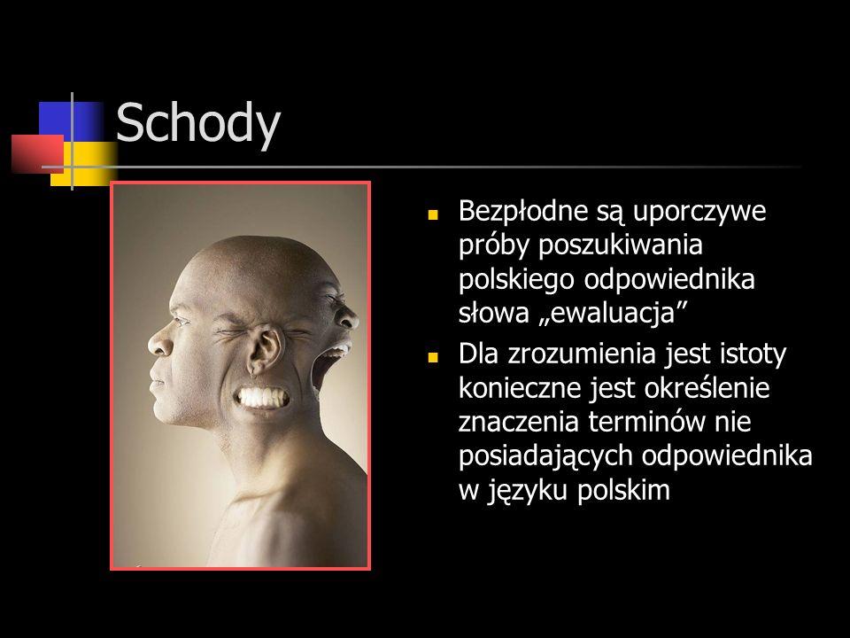 Schody Bezpłodne są uporczywe próby poszukiwania polskiego odpowiednika słowa ewaluacja Dla zrozumienia jest istoty konieczne jest określenie znaczenia terminów nie posiadających odpowiednika w języku polskim