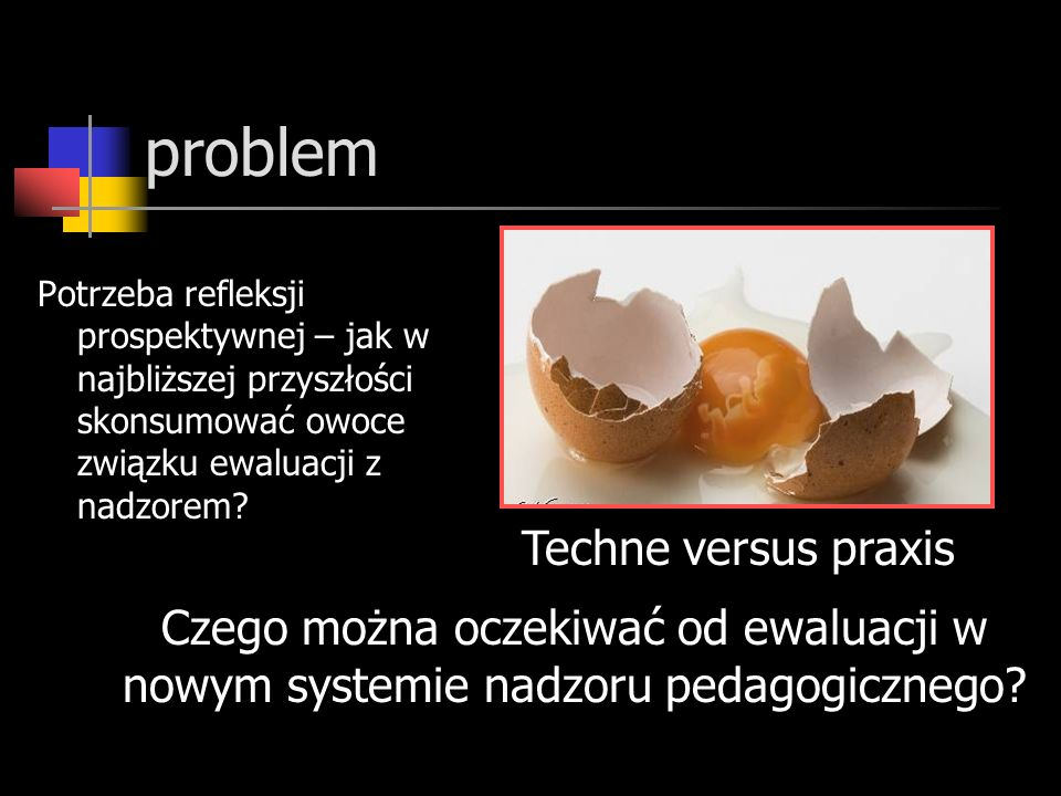 problem Potrzeba refleksji prospektywnej – jak w najbliższej przyszłości skonsumować owoce związku ewaluacji z nadzorem.