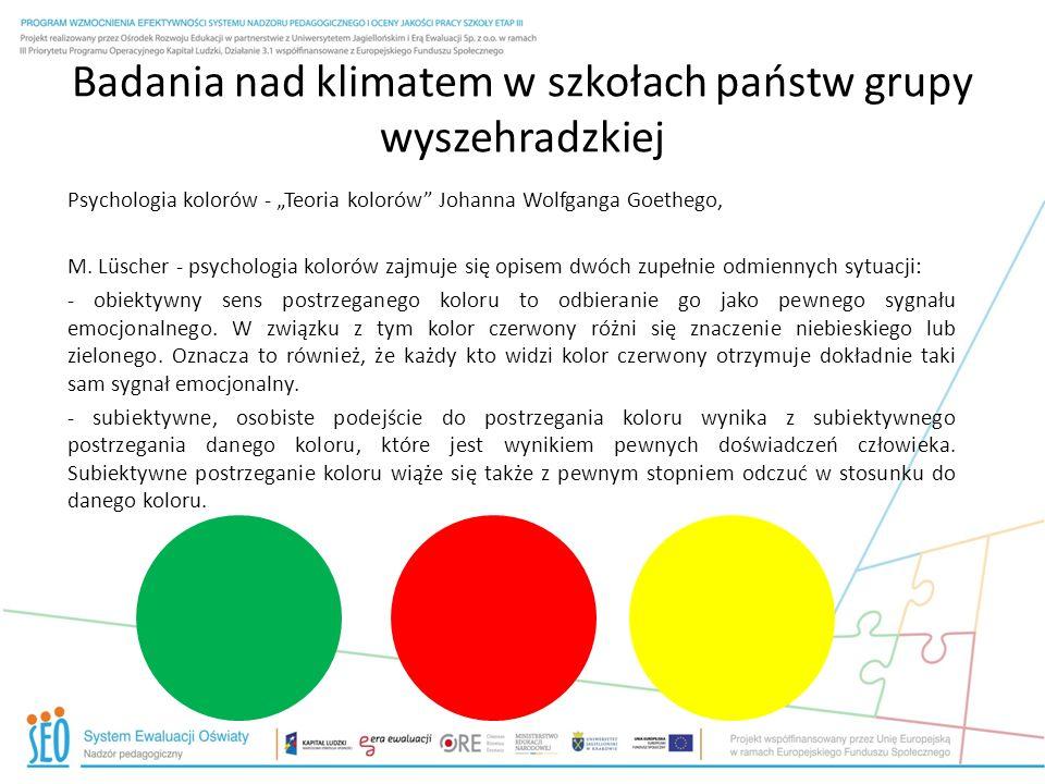 Badania nad klimatem w szkołach państw grupy wyszehradzkiej Psychologia kolorów - Teoria kolorów Johanna Wolfganga Goethego, M. Lüscher - psychologia