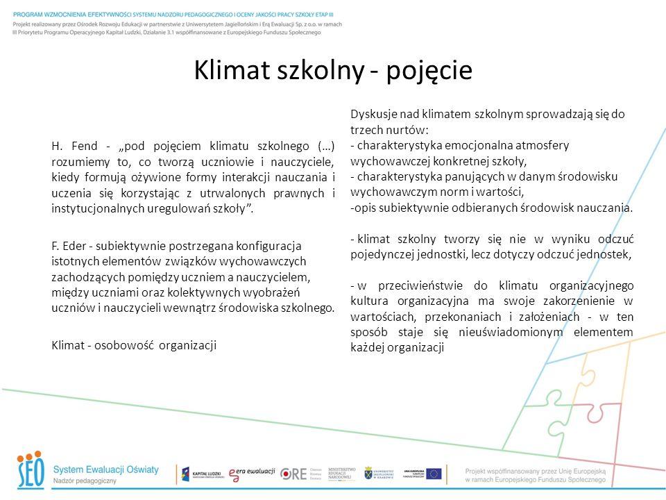 Klimat szkolny - pojęcie H. Fend - pod pojęciem klimatu szkolnego (…) rozumiemy to, co tworzą uczniowie i nauczyciele, kiedy formują ożywione formy in