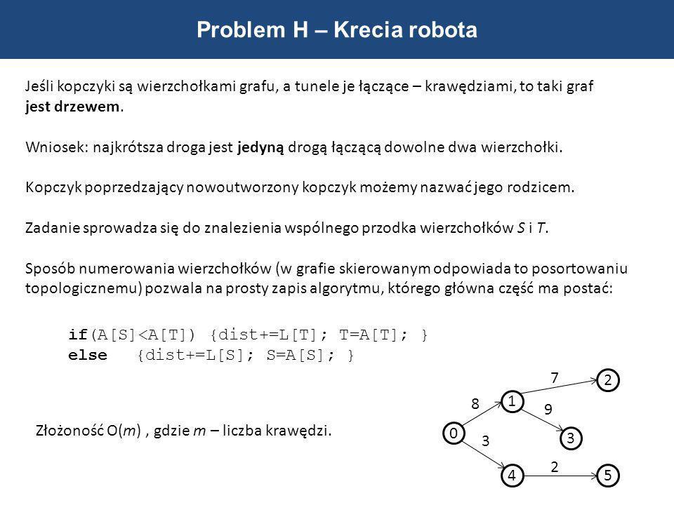 Problem H – Krecia robota Jeśli kopczyki są wierzchołkami grafu, a tunele je łączące – krawędziami, to taki graf jest drzewem. Wniosek: najkrótsza dro