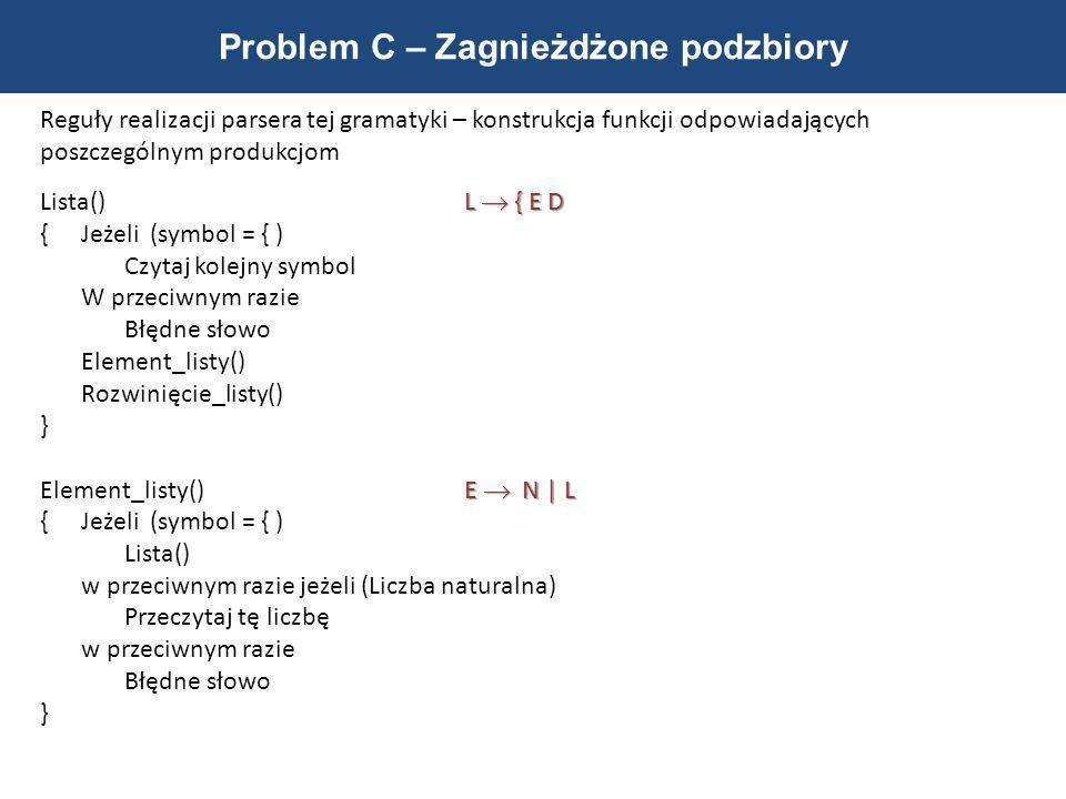 Problem C – Zagnieżdżone podzbiory Reguły realizacji parsera tej gramatyki – konstrukcja funkcji odpowiadających poszczególnym produkcjom L { E D List