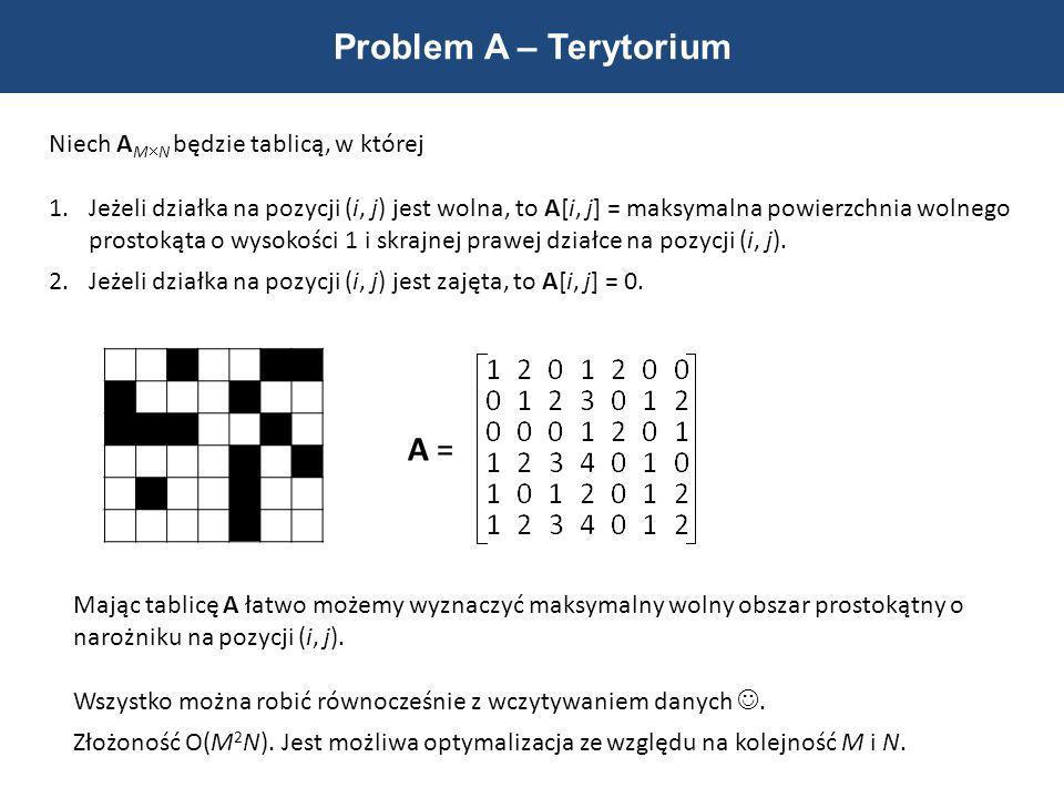 Problem A – Terytorium Niech A M N będzie tablicą, w której 1.Jeżeli działka na pozycji (i, j) jest wolna, to A[i, j] = maksymalna powierzchnia wolneg