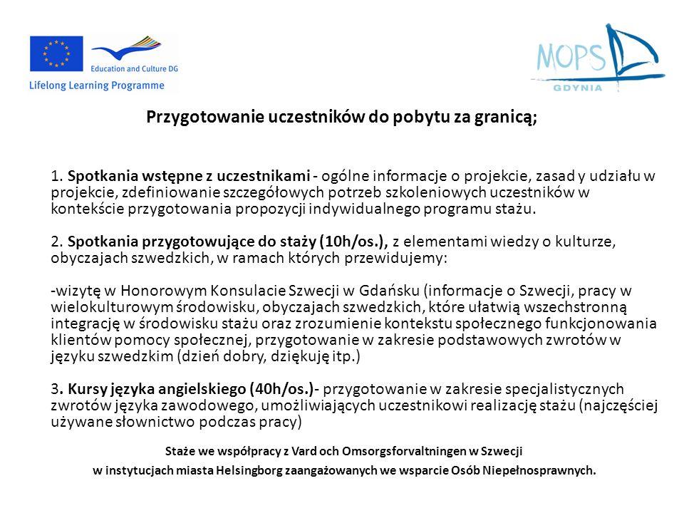 Staże we współpracy z Vard och Omsorgsforvaltningen w Szwecji w instytucjach miasta Helsingborg zaangażowanych we wsparcie Osób Niepełnosprawnych. Prz