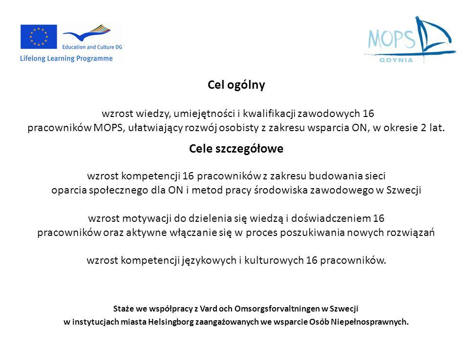 Cel ogólny wzrost wiedzy, umiejętności i kwalifikacji zawodowych 16 pracowników MOPS, ułatwiający rozwój osobisty z zakresu wsparcia ON, w okresie 2 l