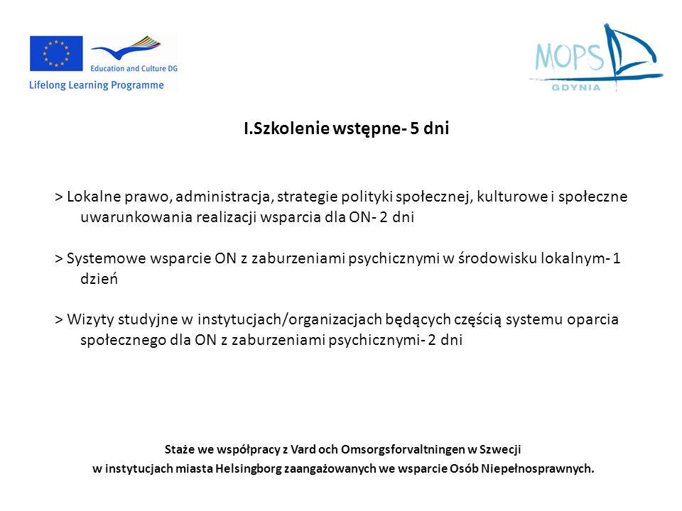 I.Szkolenie wstępne- 5 dni > Lokalne prawo, administracja, strategie polityki społecznej, kulturowe i społeczne uwarunkowania realizacji wsparcia dla ON- 2 dni > Systemowe wsparcie ON z zaburzeniami psychicznymi w środowisku lokalnym- 1 dzień > Wizyty studyjne w instytucjach/organizacjach będących częścią systemu oparcia społecznego dla ON z zaburzeniami psychicznymi- 2 dni Staże we współpracy z Vard och Omsorgsforvaltningen w Szwecji w instytucjach miasta Helsingborg zaangażowanych we wsparcie Osób Niepełnosprawnych.