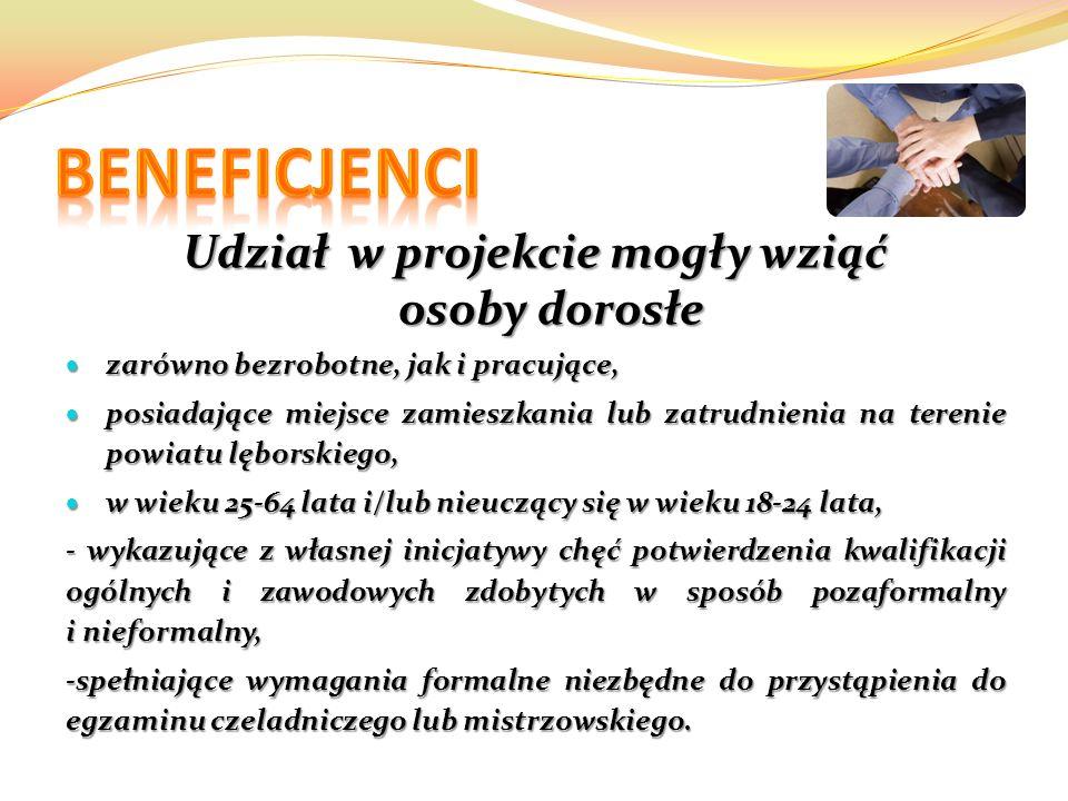 Udział w projekcie mogły wziąć osoby dorosłe zarówno bezrobotne, jak i pracujące, zarówno bezrobotne, jak i pracujące, posiadające miejsce zamieszkania lub zatrudnienia na terenie powiatu lęborskiego, posiadające miejsce zamieszkania lub zatrudnienia na terenie powiatu lęborskiego, w wieku 25-64 lata i/lub nieuczący się w wieku 18-24 lata, w wieku 25-64 lata i/lub nieuczący się w wieku 18-24 lata, - wykazujące z własnej inicjatywy chęć potwierdzenia kwalifikacji ogólnych i zawodowych zdobytych w sposób pozaformalny i nieformalny, -spełniające wymagania formalne niezbędne do przystąpienia do egzaminu czeladniczego lub mistrzowskiego.