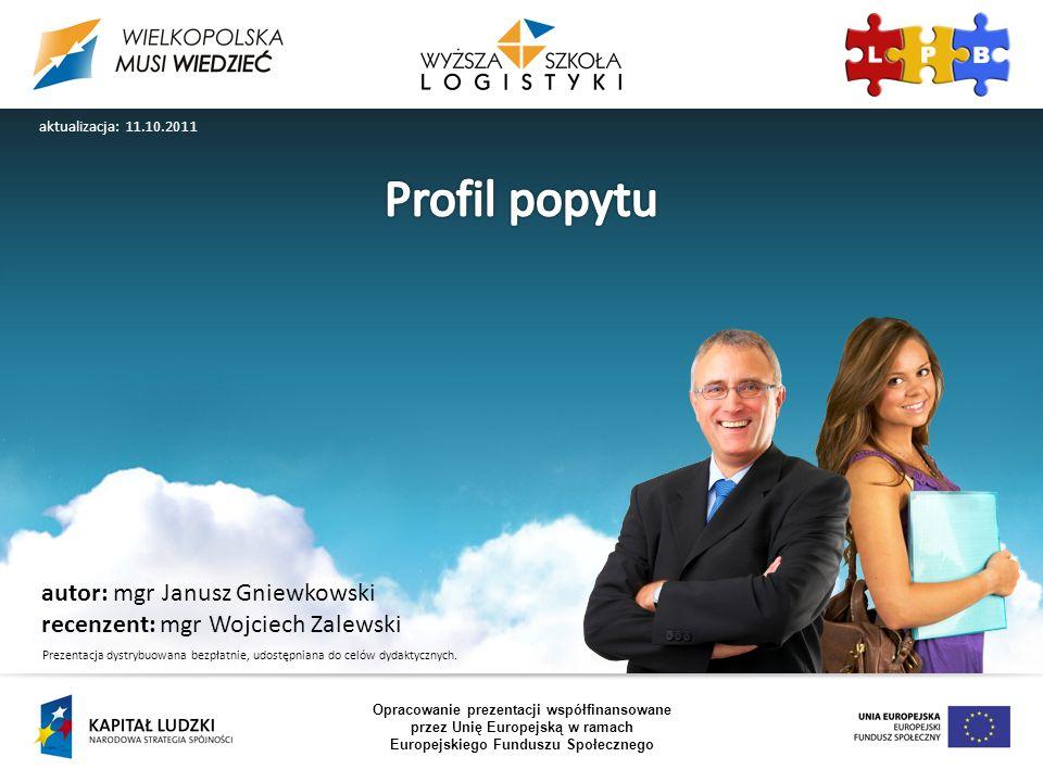 Opracowanie prezentacji współfinansowane przez Unię Europejską w ramach Europejskiego Funduszu Społecznego aktualizacja: 11.10.2011 Prezentacja dystrybuowana bezpłatnie, udostępniana do celów dydaktycznych.