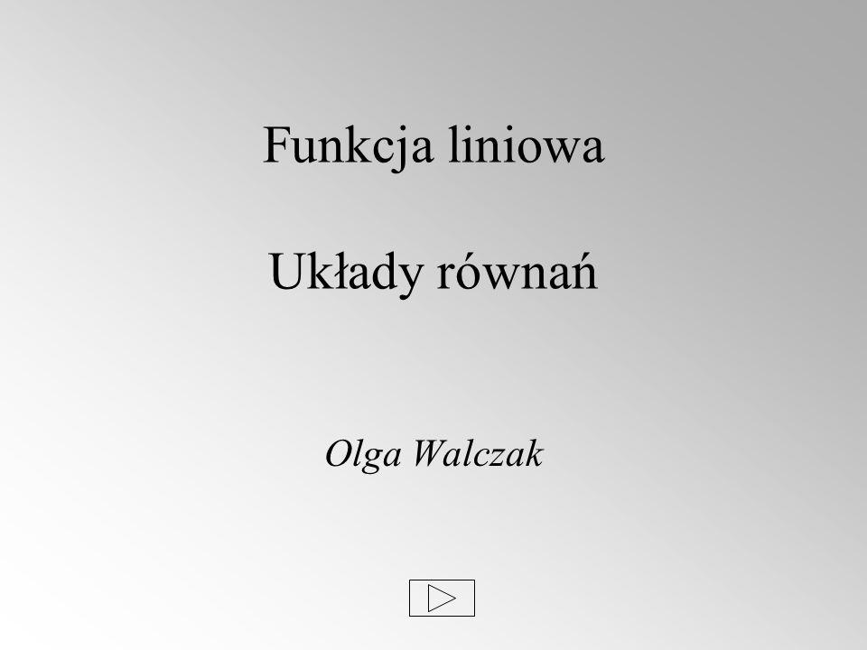 Funkcja liniowa Układy równań Olga Walczak