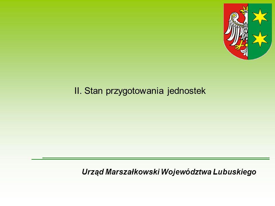 II. Stan przygotowania jednostek Urząd Marszałkowski Województwa Lubuskiego