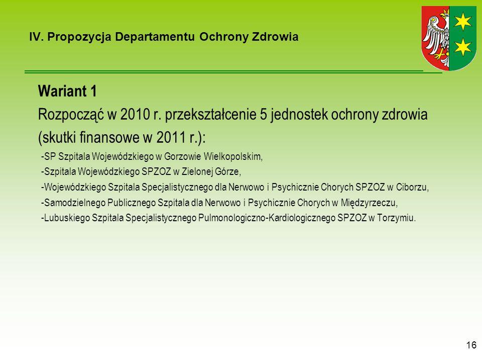 Wariant 1 Rozpocząć w 2010 r.