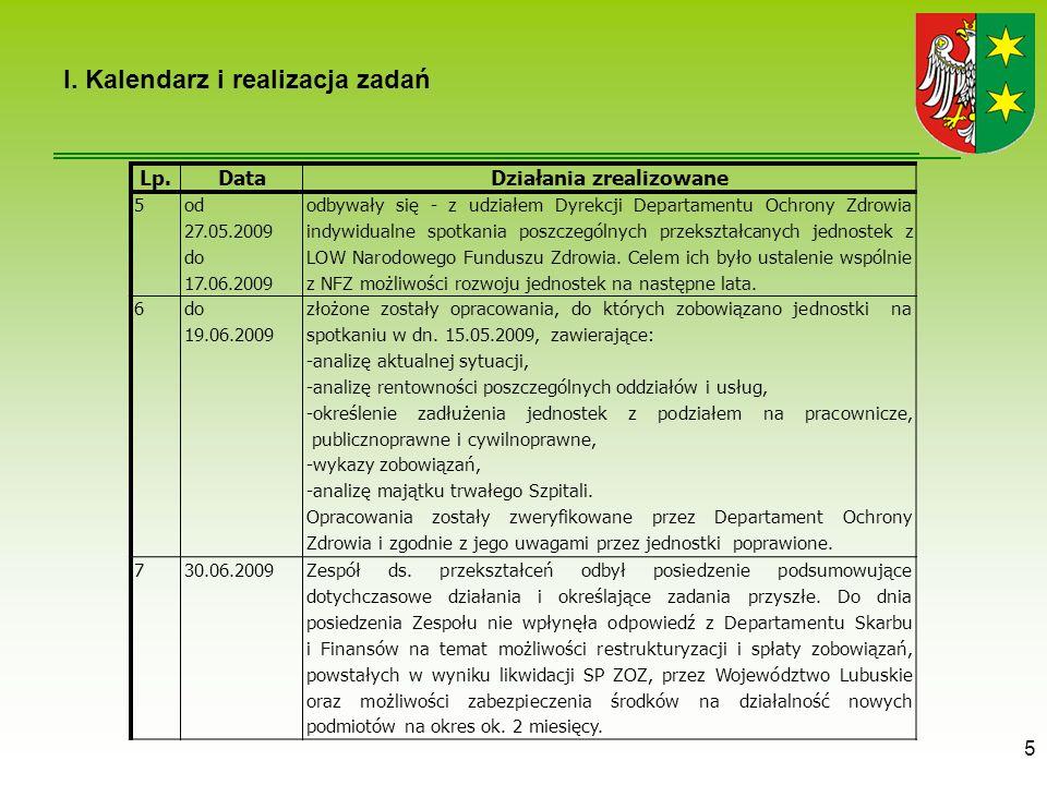 5 I. Kalendarz i realizacja zadań Lp.DataDziałania zrealizowane 5 od 27.05.2009 do 17.06.2009 odbywały się - z udziałem Dyrekcji Departamentu Ochrony