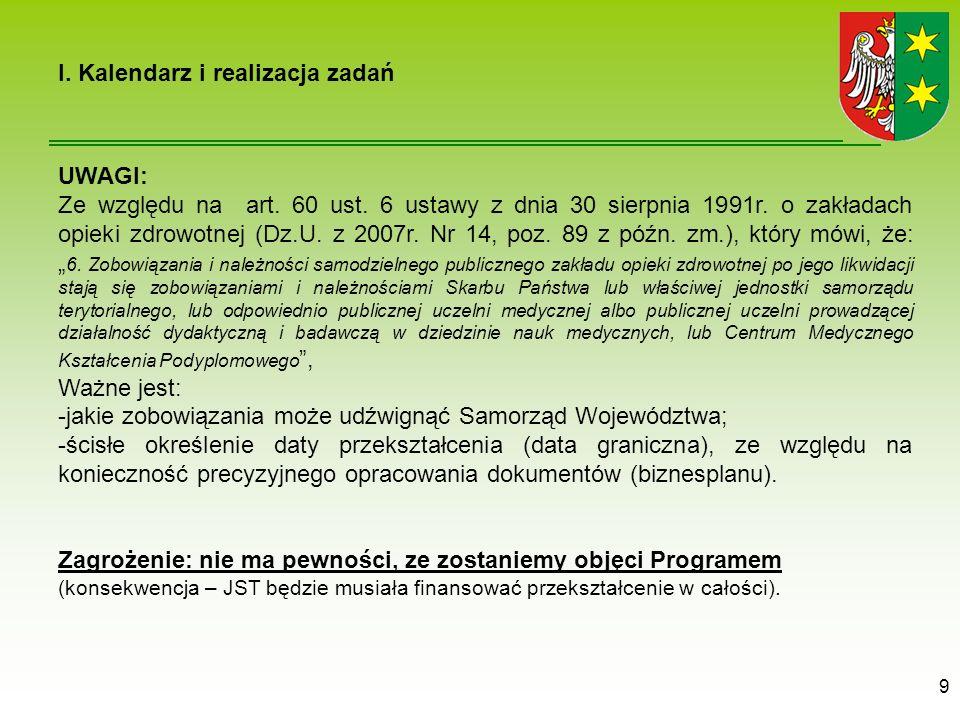 9 UWAGI: Ze względu na art.60 ust. 6 ustawy z dnia 30 sierpnia 1991r.