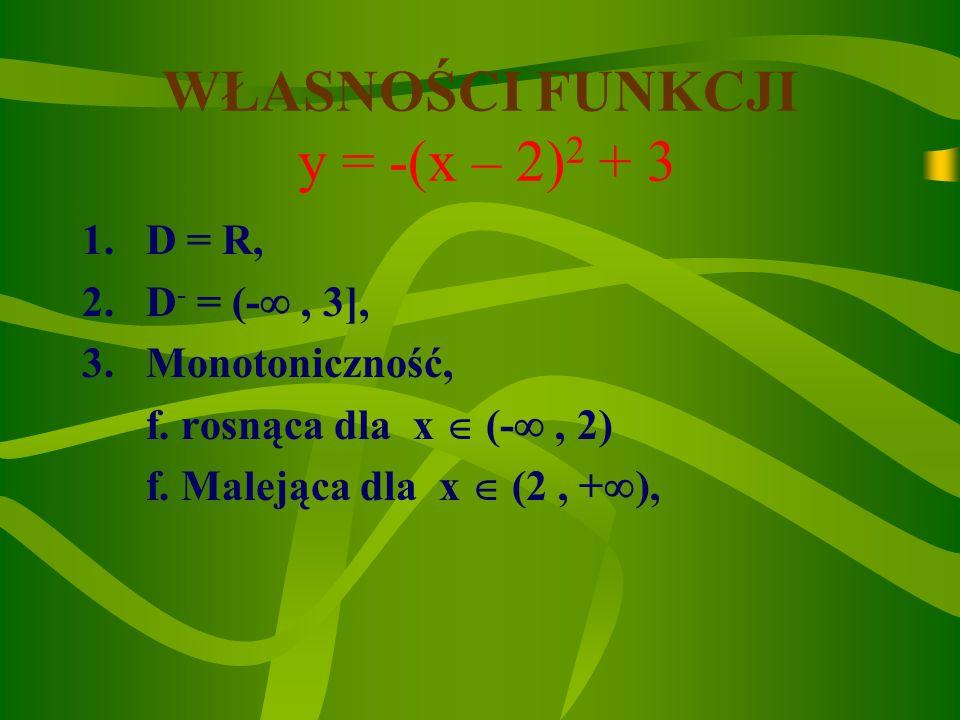 Wykresy funkcji y=-(x–2) 2 +3 i y=-x 2 y=-(x-2) 2 +3 p q