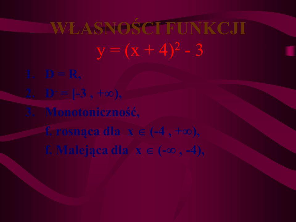Wykres funkcji y = (x + 4) 2 -3 y= x2x2 y=(x+4) 2 -3 p q