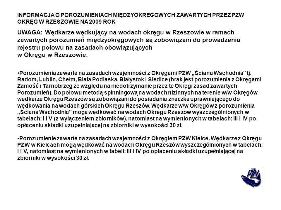 INFORMACJA O POROZUMIENIACH MIĘDZYOKRĘGOWYCH ZAWARTYCH PRZEZ PZW OKRĘG W RZESZOWIE NA 2009 ROK UWAGA: Wędkarze wędkujący na wodach okręgu w Rzeszowie