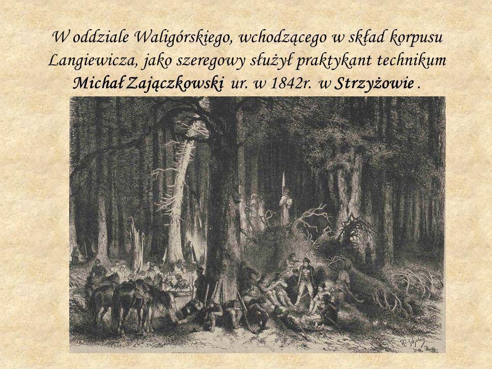 W oddziale Waligórskiego, wchodzącego w skład korpusu Langiewicza, jako szeregowy służył praktykant technikum Michał Zajączkowski ur. w 1842r. w Strzy