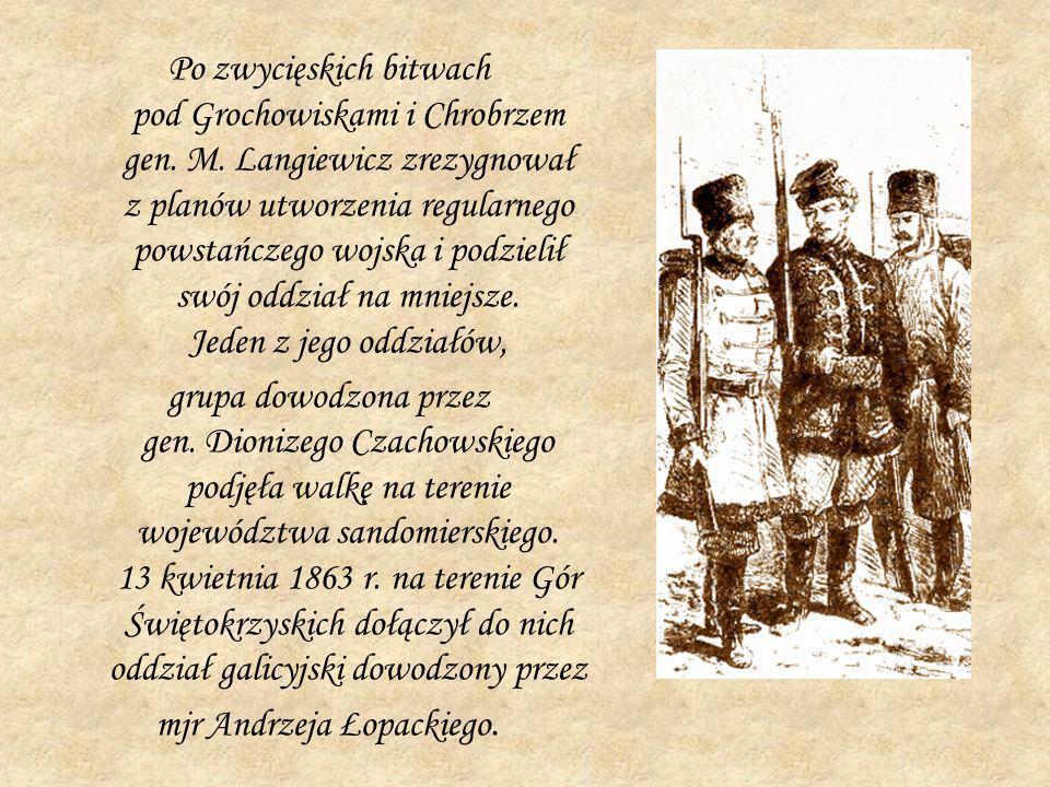 Po zwycięskich bitwach pod Grochowiskami i Chrobrzem gen. M. Langiewicz zrezygnował z planów utworzenia regularnego powstańczego wojska i podzielił sw