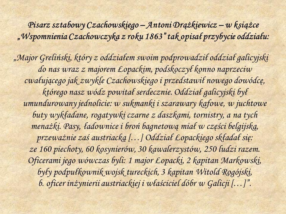 Pisarz sztabowy Czachowskiego – Antoni Drążkiewicz – w książce Wspomnienia Czachowczyka z roku 1863 tak opisał przybycie oddziału: Major Greliński, kt