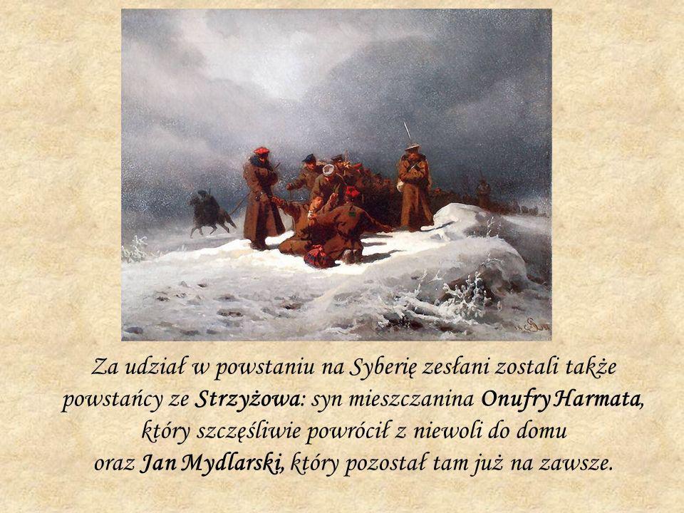 Za udział w powstaniu na Syberię zesłani zostali także powstańcy ze Strzyżowa: syn mieszczanina Onufry Harmata, który szczęśliwie powrócił z niewoli d