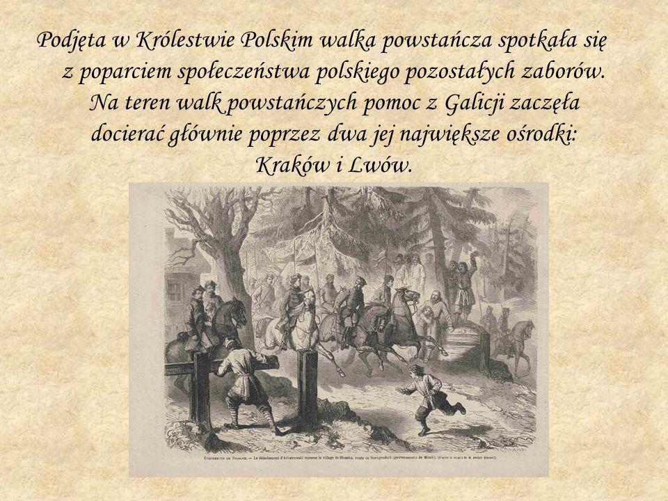 Podjęta w Królestwie Polskim walka powstańcza spotkała się z poparciem społeczeństwa polskiego pozostałych zaborów. Na teren walk powstańczych pomoc z