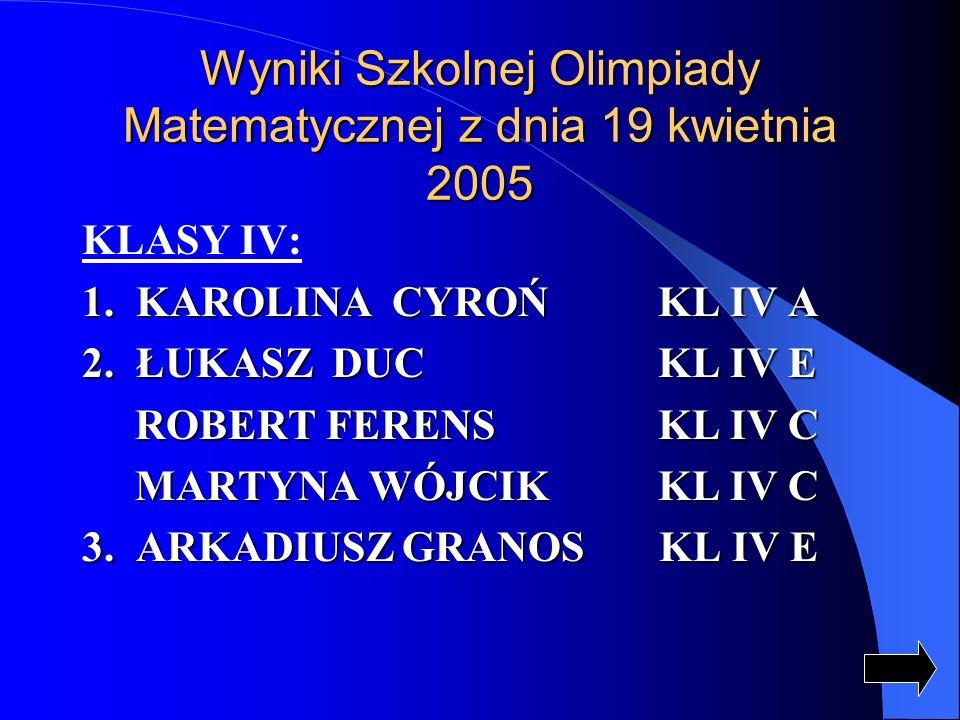Wyniki Szkolnej Olimpiady Matematycznej z dnia 19 kwietnia 2005 KLASY IV: 1.