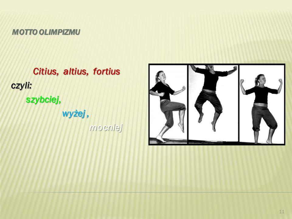 MOTTO OLIMPIZMU Citius, altius, fortius czyli: szybciej, szybciej, wyżej, wyżej, mocniej mocniej 11